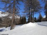Un monticule de neige sépare la piste de la zone de retour des perches.JPG