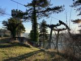 Pylone P3 et P4 avec la tour Monfort à l'arrière plan