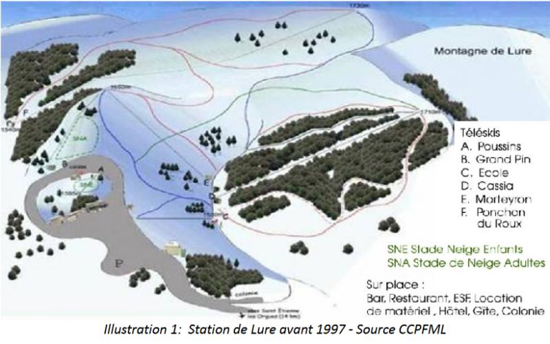 Plan des pistes lure avant 1997